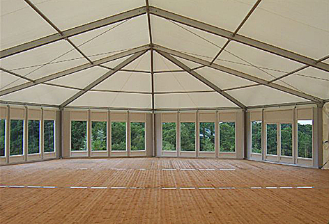 Clear span marquee with wooden floor and glass doors bfore decoration. & Moroccan Tents Hire - Bedouin Tents Hire - Marquee Hire -Moroccan ...